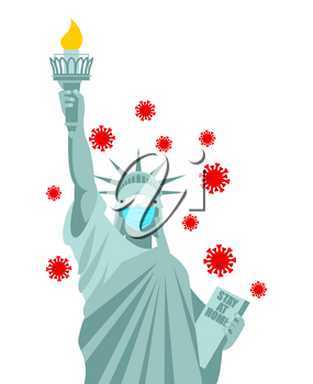Statue of Liberty in medical mask. Coronavirus in USA. Coronavirus isolation mode. Quarantine from the virus. Pandemic