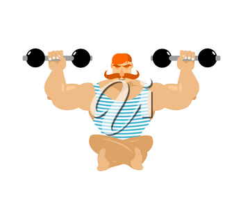 Retro athlete with red mustache. Vintage sportsman. Ancient bodybuilder. Old strong man in striped overalls