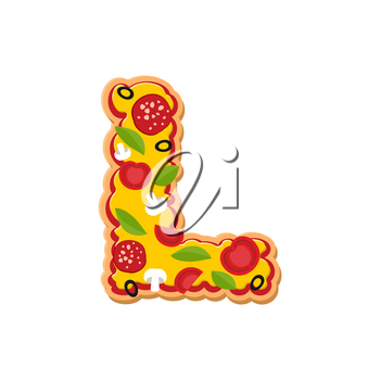 Letter L pizza font. Italian meal alphabet. Lettring fast food