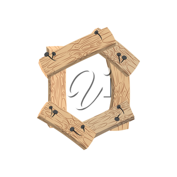 Number 0 wood board font. zero symbol plank and nails alphabet. Lettering of boards. Country chipboard ABC