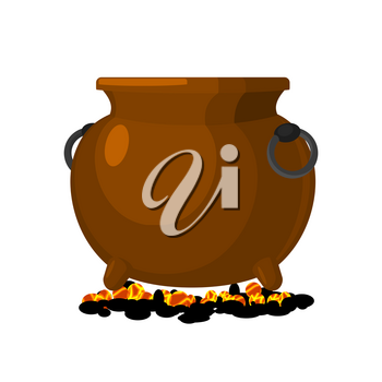 Boiler is on charcoal. pot isolated. Big cauldron on white background