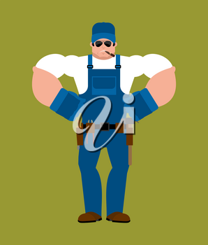 Plumber strong. Fitter Serious Powerful. Service worker Serviceman hard. Vector illustration