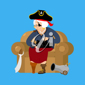 Grandmother pirate. Old buccaneer and cat. grandma on chair. Saber and cannon. Smoking pipe and wooden leg. Vector illustration