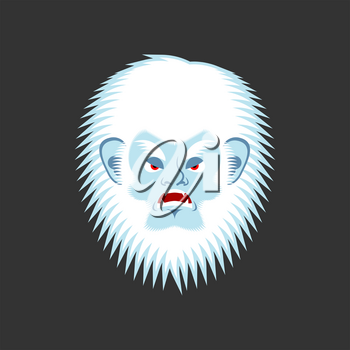 Yeti angry emoji. Bigfoot evil emotion face. Abominable snowman aggressive avatar. Vector illustration