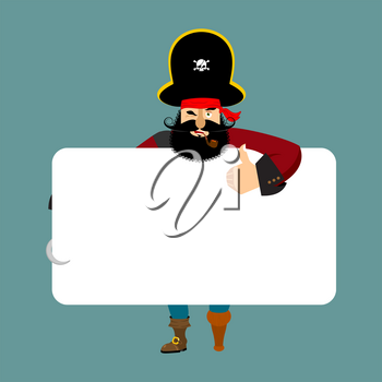 Pirate holding banner blank. filibuster and white blank. corsair joyful emotion. buccaneer and place for text. Vector illustration