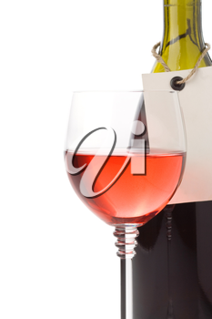 wine in glass and bottle isolated on white background