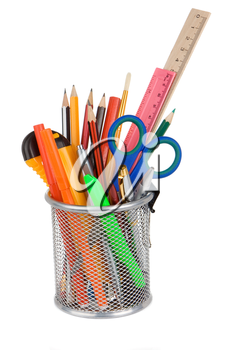 set of school accessories in holder basket isolated on white background