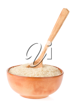 rice in plate and spoon isolated on white background