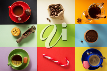 cup of coffee, tea and cacao at paper colorful background