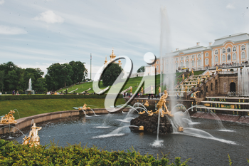 Fountain in Peterhof, about the city of St. Petersburg, Russia.