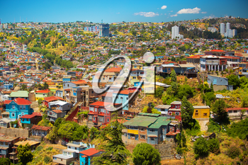 Colorful buildings on the hills of the UNESCO World Heritage city of Valparaiso, Chile