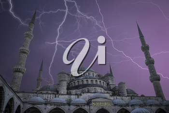 Blue Mosque or Sultanahmet is located in Istanbul. A strong thunderstorm and a lot of lightning.
