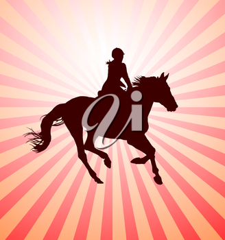 Carrying out horse with horsewoman vector