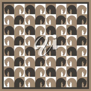 Seamless pattern with image horse heads, stylized in form chessboard, vector illustration