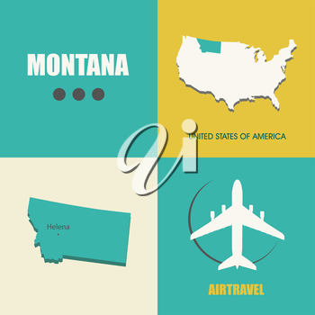flat design with map Montana concept for air travel