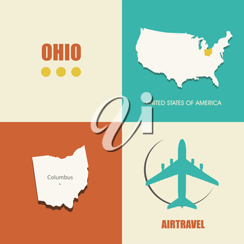 flat design with map Ohio concept for air travel