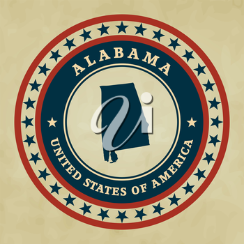 Vintage label with map of Alabama, vector