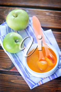 baby food in bowl and on a table