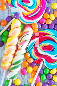 sweet and color candy on a table