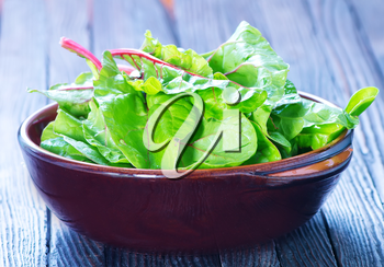fresh spinach in bowl and on a table