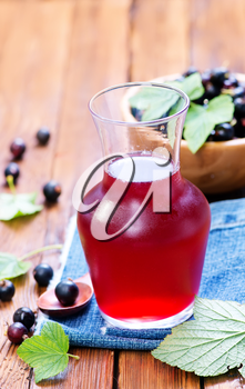 compot from berries in jug and on a table