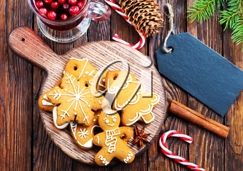 christmas cookies with aroma spice on plate