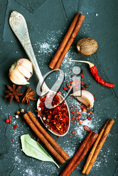 aroma spice in spoon and on a table