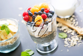 milk with chia seeds and berries on a table