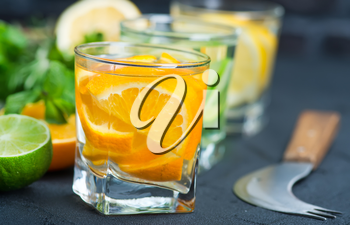 detox drink with citrus in the glass