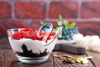 desert in glass bowl and on a table