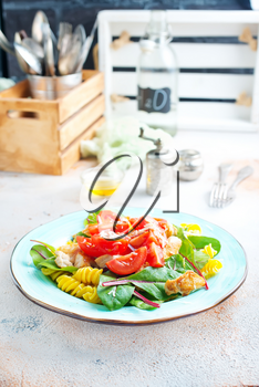 salad with pasta chicken mangold and tomato