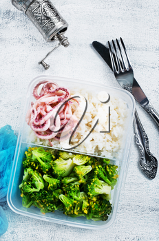 diet food in lunchbox, seafood and vegetables in lunchbox