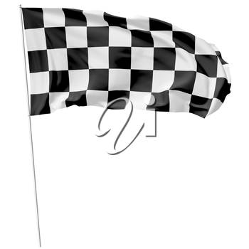 Checkered flag on long flagpole flying in the wind isolated on white, 3d illustration
