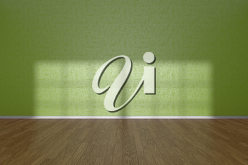 Green wall of empty room with wooden parquet floor under sun light through window, 3D illustration