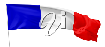 Long national flag of French Republic (France) with flagpole flying in the wind and waving, isolated on white background, 3d illustration