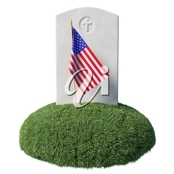 Small American flag and gray blank headstone on green grass islet in memorial day under sunlight isolated on white background, Memorial Day concept sign, 3D illustration
