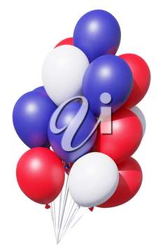 USA patriotic balloons in traditional colors, blue, red and white, with ribbons isolated on white. 4th of July Independence Day celebration holiday decoration, 3D illustration