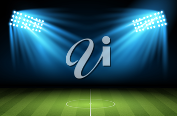 Football arena. Vector Soccer field with searchlight, spotlight, projector