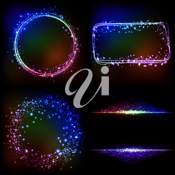 Vector Abstract dark background with color light frames