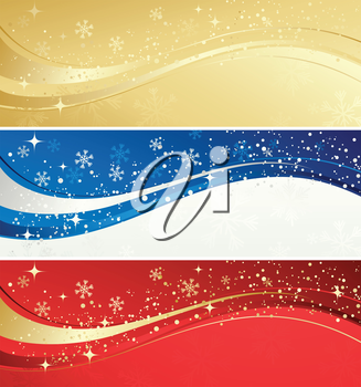 Vector illustration Christmas color banner with snowflakes