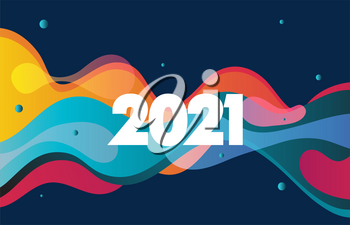 Moving colorful abstract background with 2021 new year. Dynamic Effect. Vector Illustration. Design Template for poster and cover.