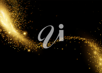 Holiday Abstract shiny color gold design element and glitter effect on dark background. For website, greeting, discount voucher, greeting and poster design