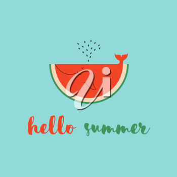 Royalty Free Clipart Image of a Watermelon on a Hello Summer Message