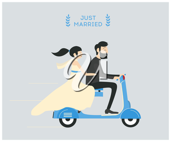 Royalty Free Clipart Image of Bridal Couple on a Scooter