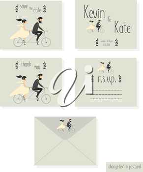 Royalty Free Clipart Image of a Wedding Invitation With a Bridal Couple on a Bike