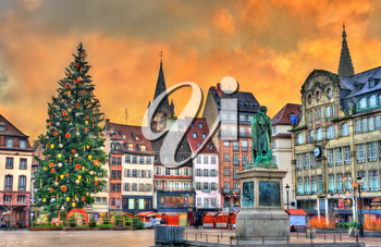 Christmas tree and statue of General Kleber in Strasbourg - Alsace, France