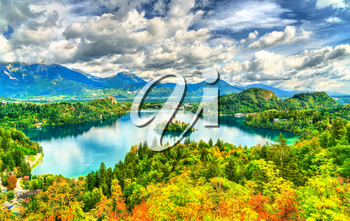 Panoramic view of Lake Bled with the island. UNESCO world heritage in Slovenia