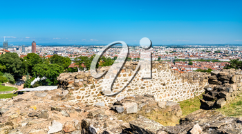Panorama of Lyon from the Ancient Theatre of Fourviere. Auvergne-Rhone-Alpes, France