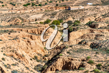 Typical Tunisian landscape in the Medenine Governorate. North Africa