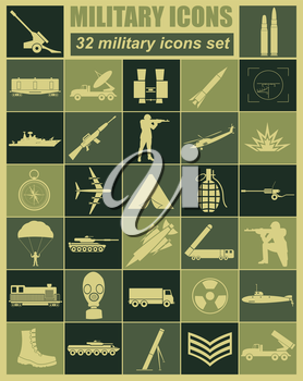 Military icon set. Constructor, kit. Vector illustration